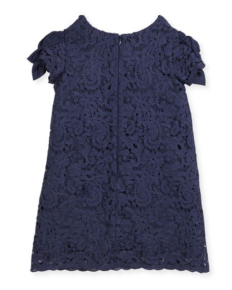 Daria Lace Dress w/ Rosette Sleeves, Size 5-8