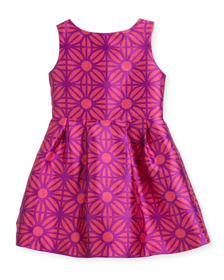 Sleeveless Daria Geo-Print Party Dress, Size 10-14
