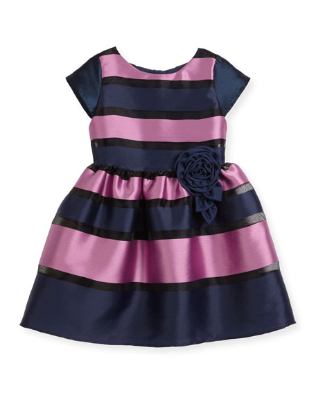 Daria Broad Striped Party Dress, Size 5-8