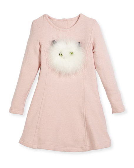 Long-Sleeve Knit Dress w/ Feather Kitty Face, Size 2-4