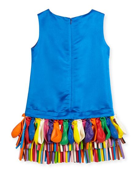 Sleeveless Taffeta Shift Dress w/ Balloons, Royal, Size 5-8