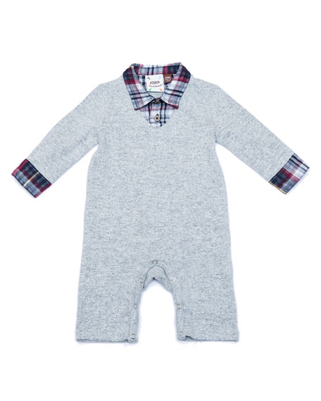 Knit Sweater Coverall w/ Plaid Shirt, Size 3-18 Months