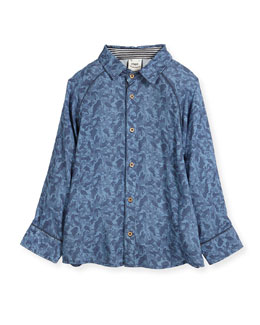 Paisley Wave Printed Button-Down Shirt, Size 2-8