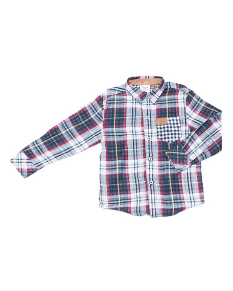 Multi-Plaid Button-Down Shirt, Size 2-8