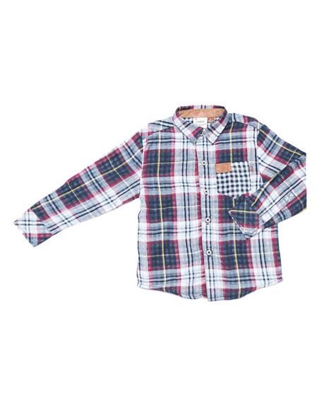 Multi-Plaid Button-Down Shirt, Size 2-8