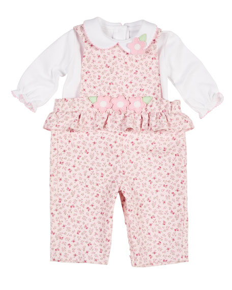 Floral-Print Corduroy Overalls w/ Knit Blouse, Size 3-24 Months