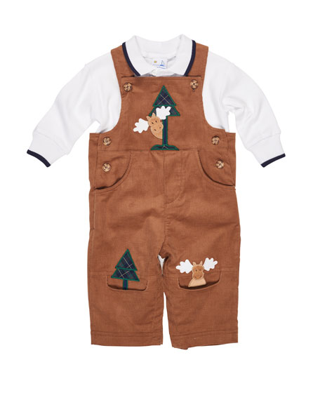 Moose-Embroidered Corduroy Overalls w/Shirt, 6-24 Months