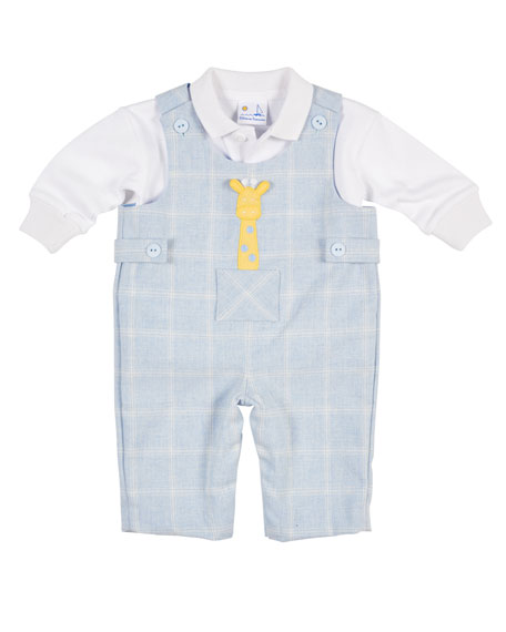 Florence Eiseman Tattersall Overalls w/Shirt, Size 3-12 Months