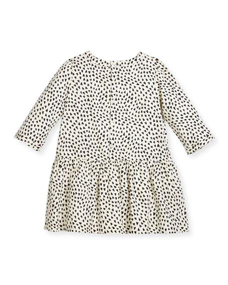 Long-Sleeve Heart-Print Dress, Size 3-8