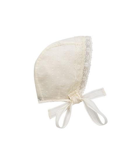Woven Lace-Trim Bonnet, Size S-L