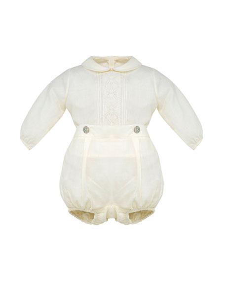 Pili Carrera Long-Sleeve Woven Shirt w/ Bloomers, Size