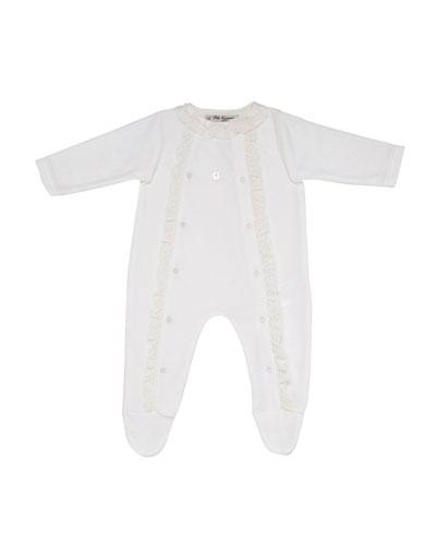 Velour Footie Pajamas w/ Lace Trim, Size 1-6 Months