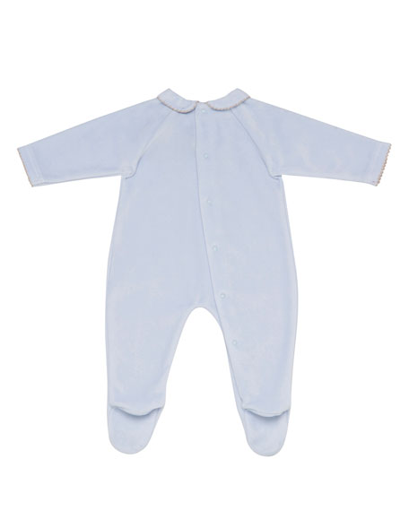 Velour Footie Pajamas w/ Lamb Embroidery, Size 1-6 Months