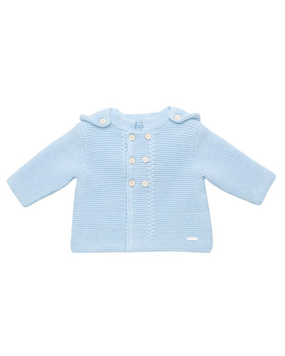 Double-Breasted Hooded Knit Cardigan, Size 3M-2T