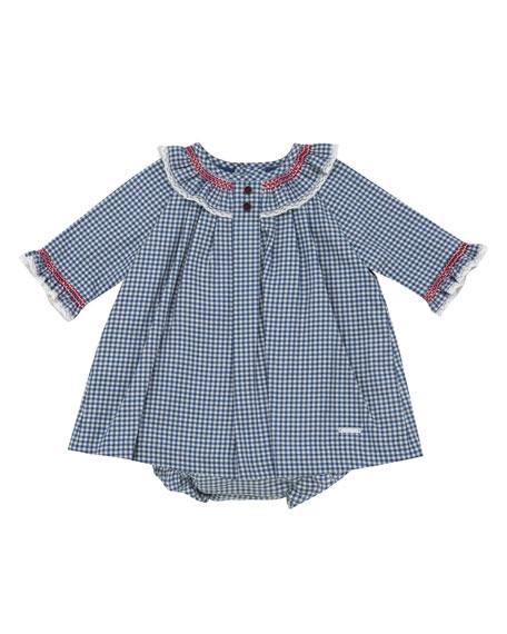 Smocked & Ruffle Check Dress w/ Bloomers, Size 3M-3T