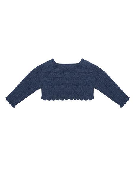 One-Button Cardigan w/ Crochet Trim, Size 3M-3T