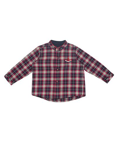 Plaid Mandarin-Collar Shirt, Size 12M-3T