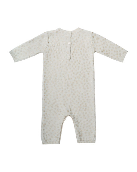 Shimmer Polka-Dot Wool Coverall, Size 3-12 Months