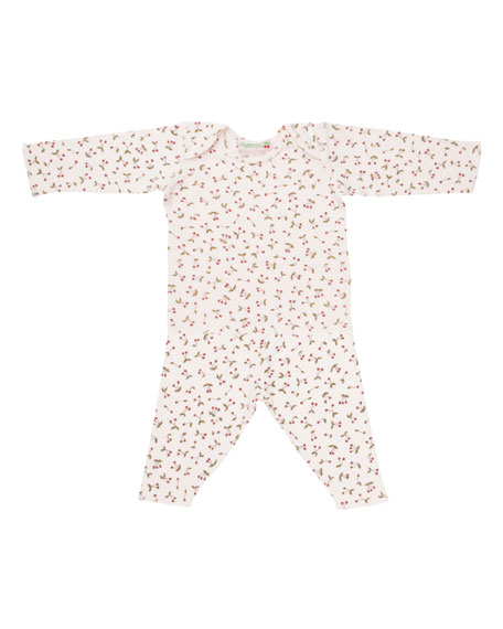 Bonpoint Cherry-Print T-Shirt w/ Leggings, Size 1 Month-2T