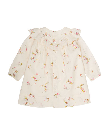 Bonpoint Swiss-Dot Floral-Print Dress, Size 6 Months-2T