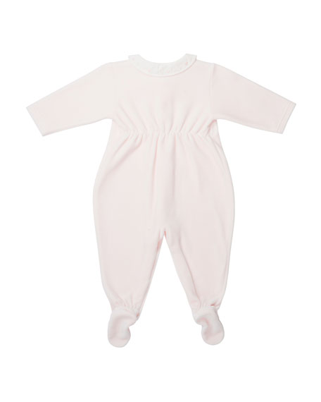 Velvet Embroidered Footie Pajamas, Pink, Size 1-6 Months