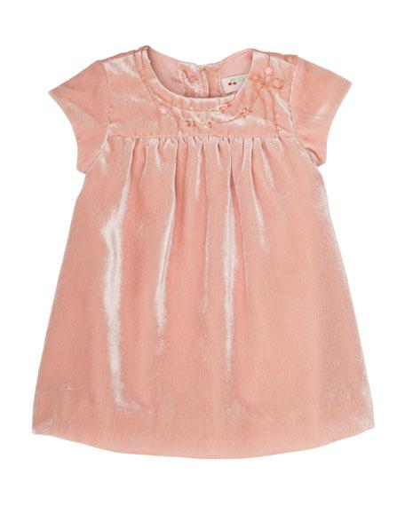 Velvet Flower-Embroidery Babydoll Dress, Size 6 Months-2T