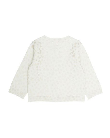 Shimmer Polka-Dot Wool Cardigan, Size 6 Months-2T