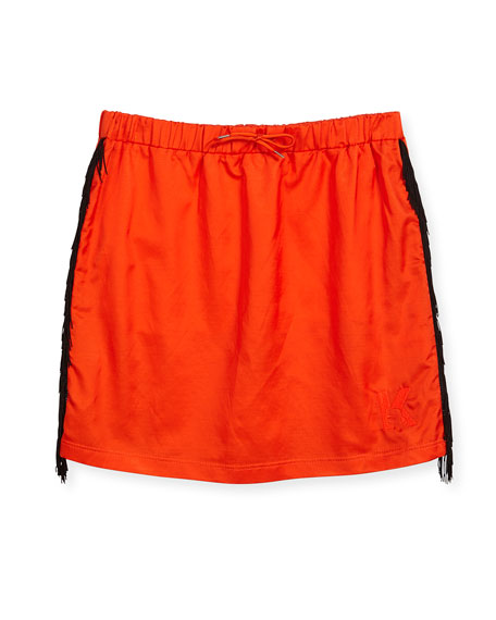Karl Lagerfeld Fringe-Trim Knit Skirt, Orange, Size 4-5
