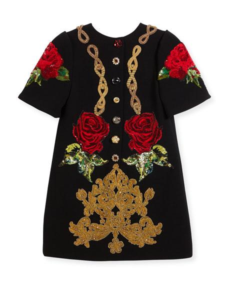Beaded Cady Short-Sleeve Dress, Black, Size 6
