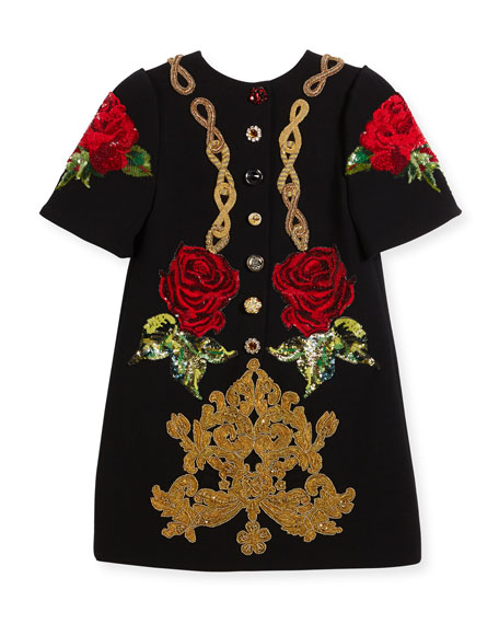 Beaded Cady Short-Sleeve Dress, Black, Size 10-12