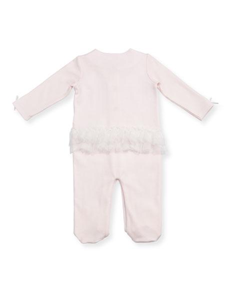 Ruffle & Lace Footie Pajamas w/ Flower Appliqués, Size 3-9 Months