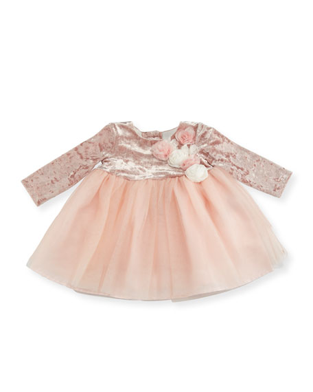 Miniclasix Long-Sleeve Dress w/ Floral Detail, Size 3-12