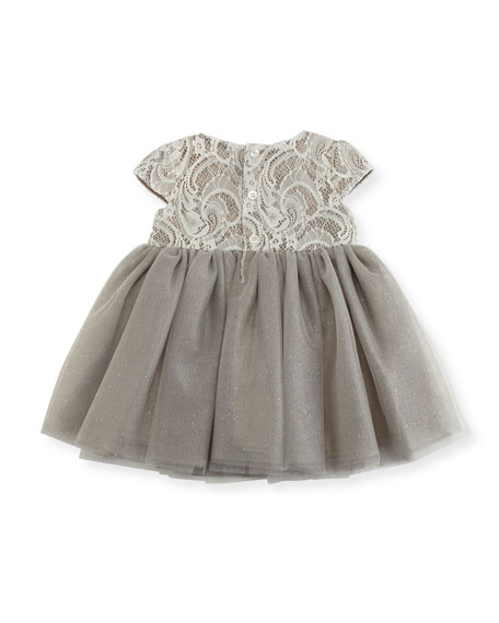 Cap-Sleeve Lace & Glitter Tulle Dress, Size 3-24 Months