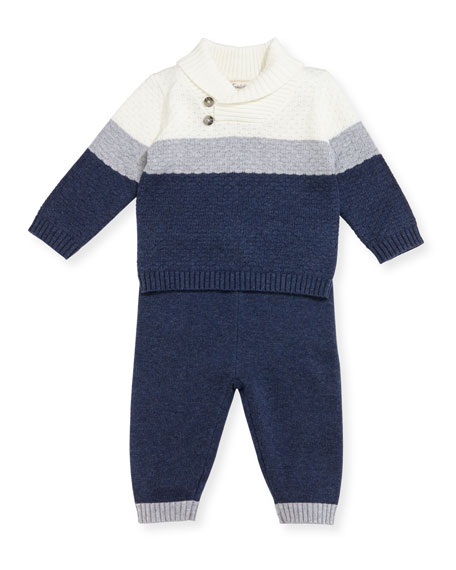 Knit Shawl-Collar Sweater w/ Leggings, Size 3-9 Months