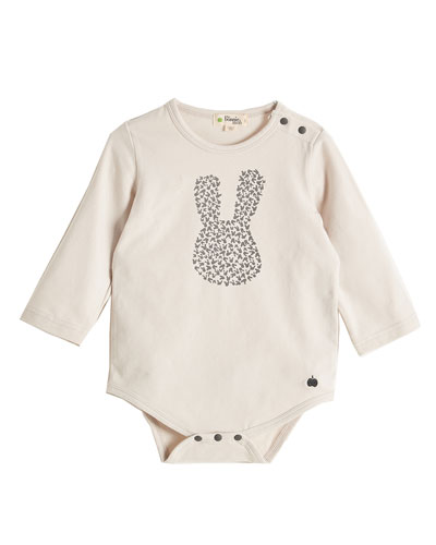 Long-Sleeve Bunny Silhouette Playsuit, Light Gray, Size 0-18 Months