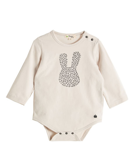 bonniemob Long-Sleeve Bunny Silhouette Playsuit, Light Gray, Size