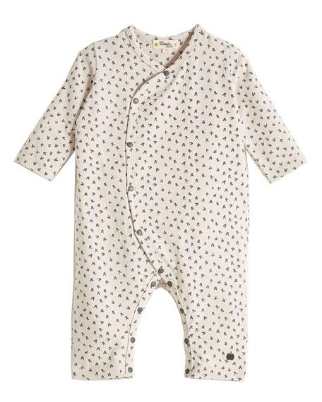 Kimono-Style Bunny-Print Coverall, Light Gray, Size 0-18 Months