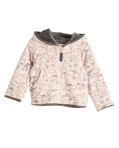 Printed Faux-Fur Lined Hoodie, Pink, Size 6-24 Months