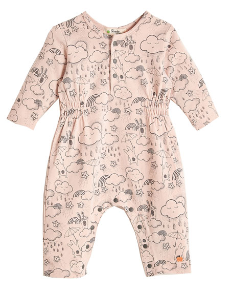 Bunny-Print Coverall, Pink, Size 0-24 Months