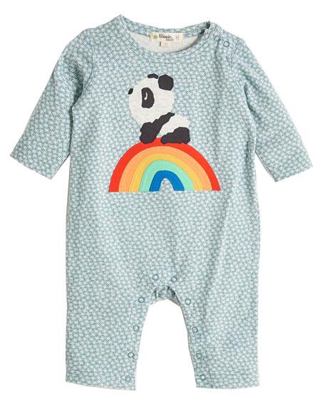 bonniemob Rainbow Panda Appliqué Coverall, Size 0-18 Months