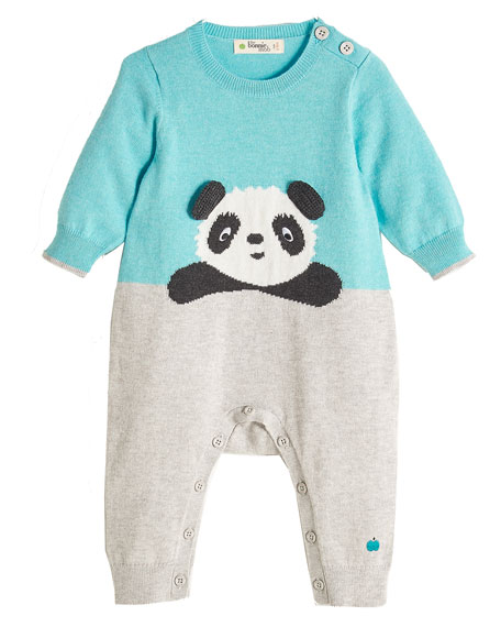 Panda Intarsia Knit Coverall, Light Blue, Size 0-18 Months