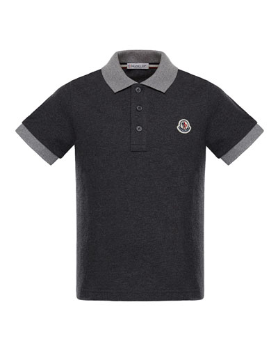 Maglia 1 Two-Tone Short-Sleeve Polo, Charcoal, Size 4-6