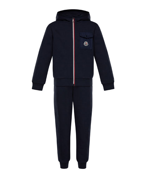 Moncler Zip-Up Hooded Jacket w/ Sweatpants, Size 8-14
