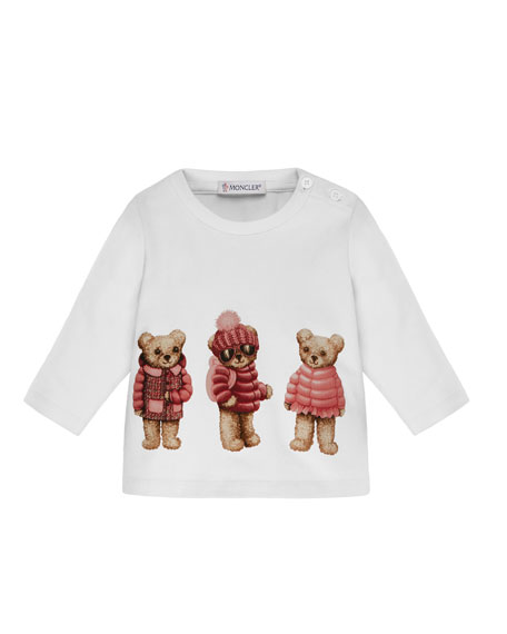 Moncler Boys' Long-Sleeve Bear T-Shirt, Size 6M-3T