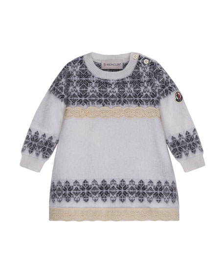 Moncler Abito Tricot Wool-Blend Dress, Size 12M-3T