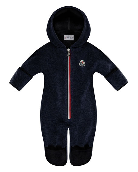 Moncler Hooded Fleece Footie Pajamas, Size 6-24 Months