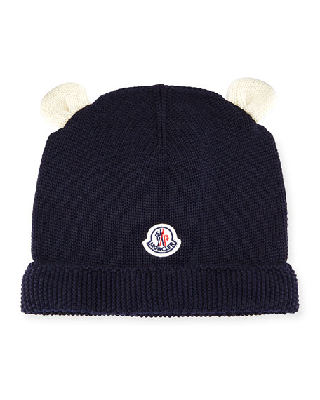 Berretto Animal Ears Knit Beanie Hat, Navy, Infant
