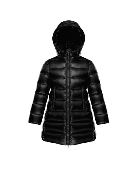 Suyen Hooded Long Puffer Coat, Black, Sizes 8-14
