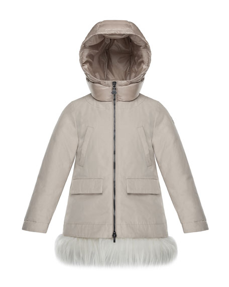 Moncler Chevronne Fur-Hem Long Coat, Size 4-6