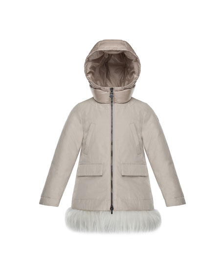 Moncler Chevronne Fur-Hem Long Coat, Size 8-14